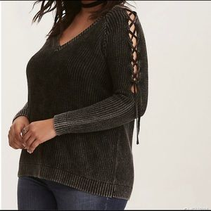 Torrid Ribbed Knit Mineral Wash Lace Up Sleeve